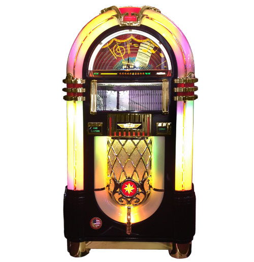 Jukebox Rock-Ola CD Bubbler Glossy Zwart - Gouden Trims