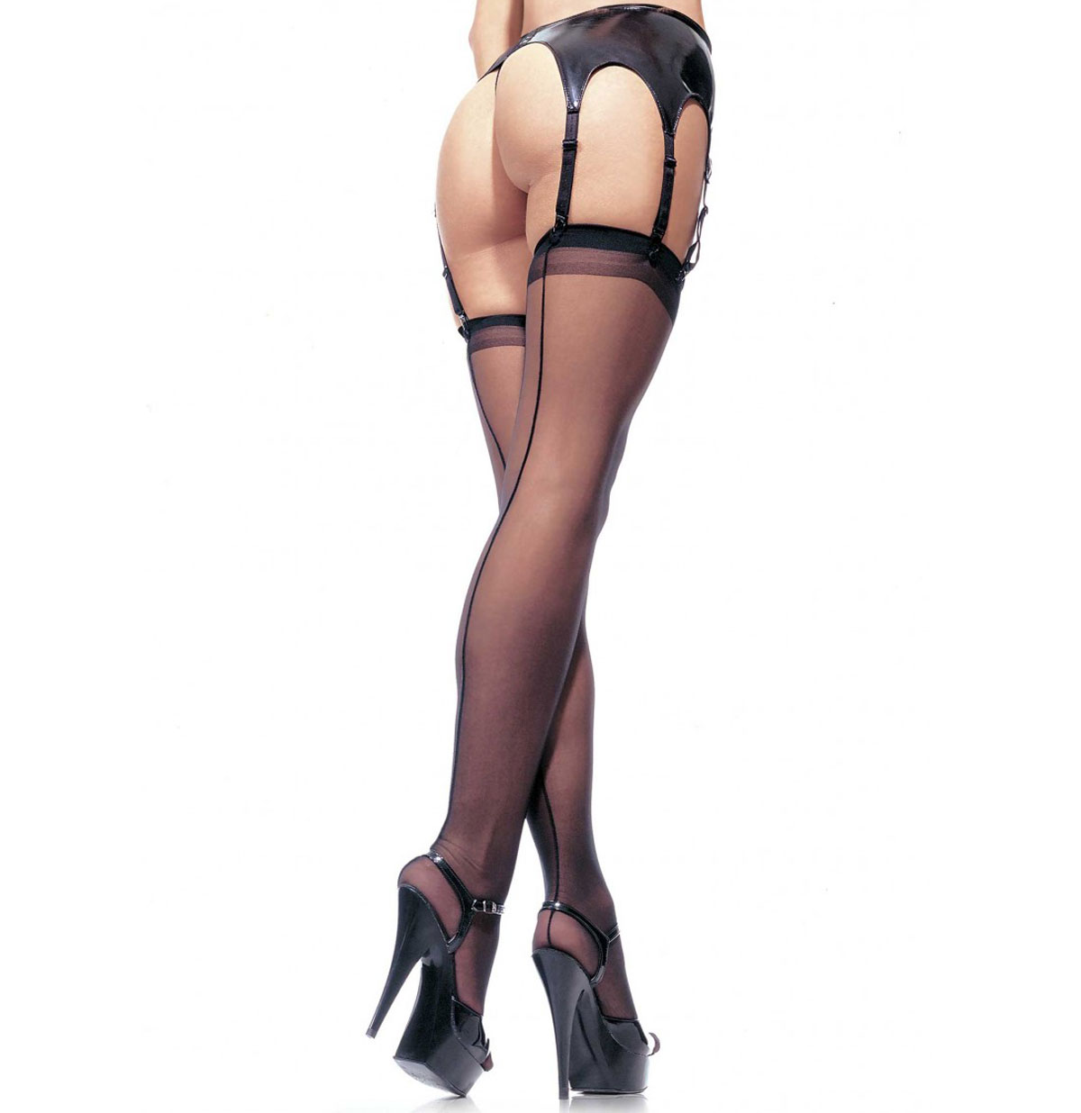 Sheer Stockings Black Seam - Plus Size