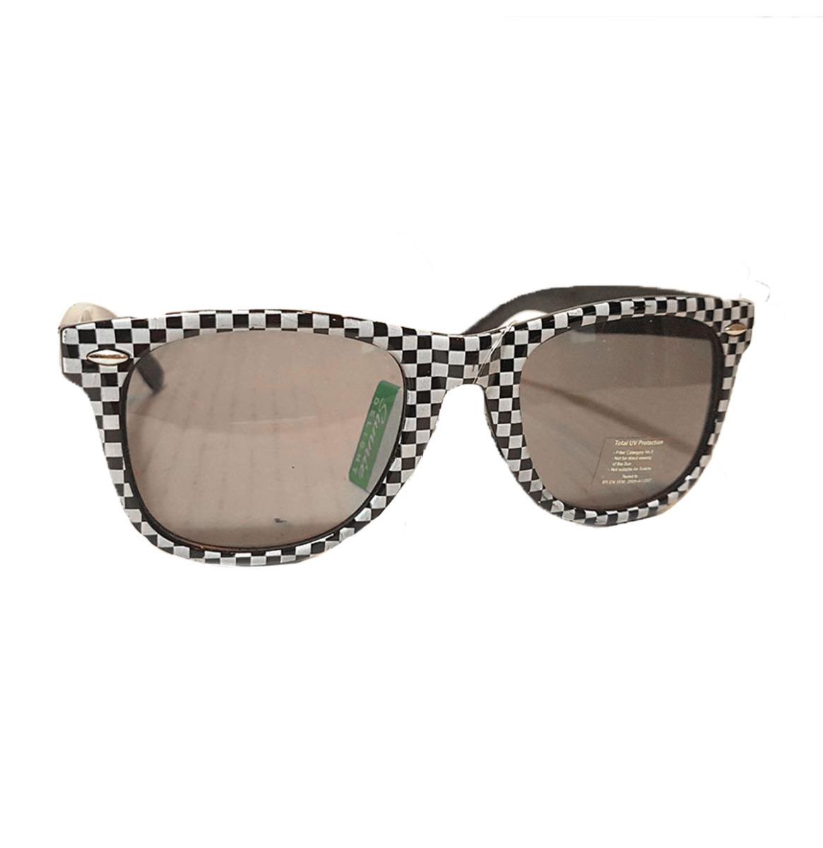 Revive Retro Wayfarer Checker black & white Sunglasses