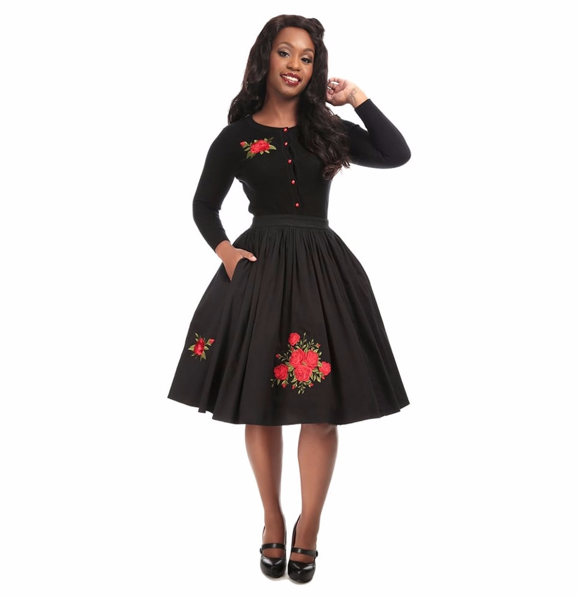 Talis Rose Embroidery Swing Skirt