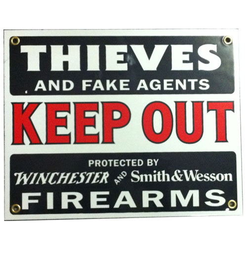 Thieves and Fake Agents Keep Out Emaille Bord